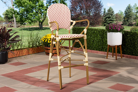 Baxton Studio WA-4209-Beige/Red-BS Marguerite Classic French Indoor and Outdoor Beige and Red Bamboo Style Stackable Bistro Bar Stool