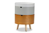 Baxton Studio SR1703006-White/Light Grey/Natural-NS Elison Mid-Century Modern Multi Color 3-Tier Wood Nightstand