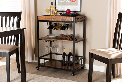 Baxton Studio SR1703011-Dark Oak/Black Cerne Vintage Rustic Industrial Oak Brown and Black Finished Mobile Metal Bar Cart with Wine Bottle Rack