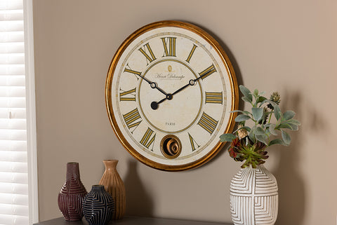 Baxton Studio HE16W040Z Alexandre Vintage Style Antique Gold Finished Wall Clock