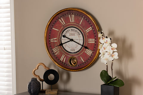 Baxton Studio HE16W041Z Alaire Vintage Style Antique Gold Finished Wall Clock
