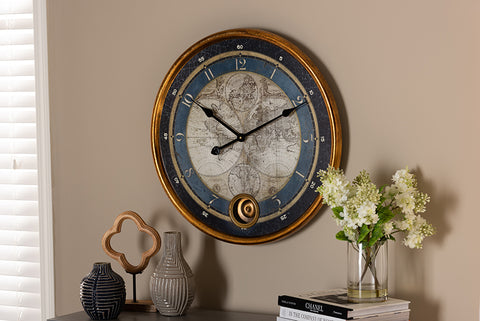 Baxton Studio HE16W042Z Clotaire Vintage Style Antique Gold Finished Map Wall Clock