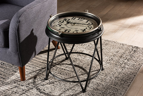 Baxton Studio HE17T053-ET Giles Vintage Industrial Matte Black Finished Metal Accent Table with Inlaid Clock