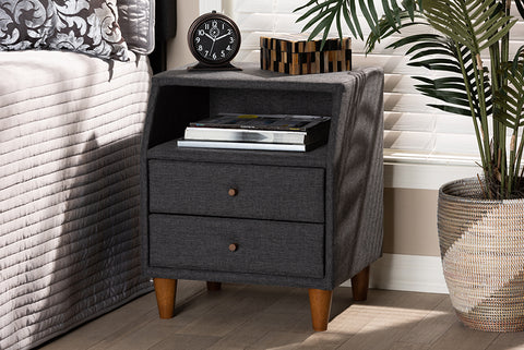 Baxton Studio BBT3157-Dark Grey-NS Claverie Mid-Century Modern Charcoal Fabric Upholstered 2-Drawer Wood Nightstand