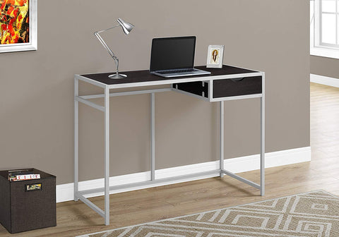 "Monarch 42"" L Silver Metal Computer Desk, Cappuccino"