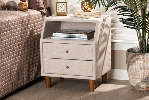 Baxton Studio BBT3157-Beige-NS Claverie Mid-Century Modern Beige Fabric Upholstered 2-Drawer Wood Nightstand