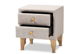 Baxton Studio BBT3154-Beige-NS Artis Modern and Contemporary Beige Fabric Upholstered 2-Drawer Wood Nightstand