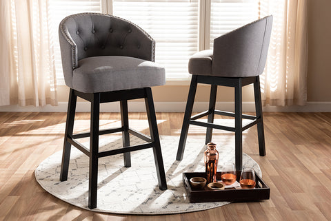 Baxton Studio BBT5210B-Grey-BS Theron Transitional Gray Fabric Upholstered Wood Swivel Bar Stool Set of 2