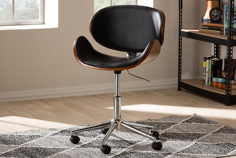 Baxton Studio T-4810-Walnut/Black Ambrosio Modern and Contemporary Black Faux Leather Upholstered Chrome-Finished Metal Adjustable Swivel Office Chair