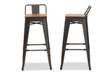 Baxton Studio T-5824-Gun-BS Henri Vintage Rustic Industrial Style Tolix-Inspired Bamboo and Gun Metal-Finished Steel Stackable Bar Stool with Backrest Set