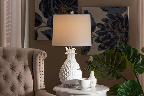 Baxton Studio TPW0001 Flinn Modern and Contemporary White Pineapple Table Lamp
