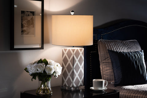 Baxton Studio TCGR0002 Selia Modern and Contemporary Gray and White Diamond Patterned Ceramic Table Lamp