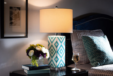 Baxton Studio TCBL0009 Rowen Modern and Contemporary Turquoise and White Diamond Patterned Ceramic Table Lamp