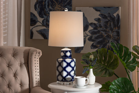 Baxton Studio TCBL0022 Tierney Modern and Contemporary Dark Blue and White Quatrefoil Patterned Ceramic Table Lamp
