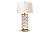Baxton Studio TMGD0001 Nelma Modern and Contemporary Gold Finished Metal Quatrefoil Cage Table Lamp