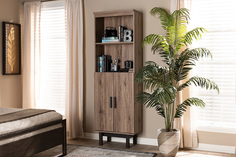 Baxton Studio MH1193-Safari Oak/Ebony-Bookcase Arend Modern and Contemporary Two-Tone Oak and Ebony Wood 2-Door Bookcase