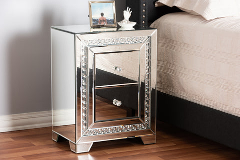 Baxton Studio RS2936 Mina Modern and Contemporary Hollywood Regency Glamour Style Mirrored Three Drawer Nightstand Bedside Table
