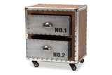 Baxton Studio DSG17A116-Light Brown-NS Avere French Industrial Brown Wood and Silver Metal 2-Drawer Rolling Nightstand