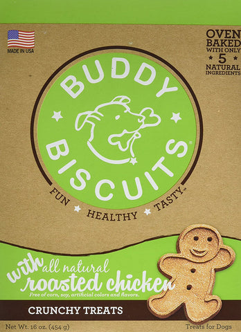 Buddy Biscuits CS-12300 Original Oven Baked Crunchy Treats Roasted Chicken 16 ounces