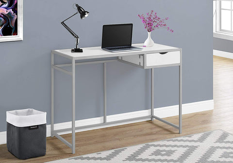 "Monarch 42"" L Silver Metal Computer Desk, White"