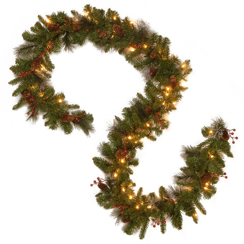 "National Tree CW7-306-9A-B1 9' x 10"" Crestwood Spruce Garland with Silver Bristle, Cones, Red Berries and Glitter with 50 Battery Operated Soft White LED Lights-"