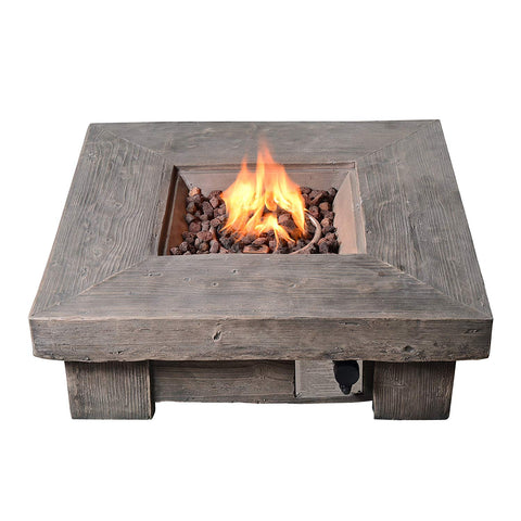 Teamson HF11501AA Peaktop - Outdoor Retro Wood Look Square Propane Gas Fire Pit