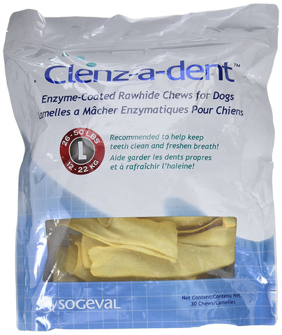 Clenz-A-Dent Rawhide Chews For Large Dogs, 30 Chews - Peazz Pet