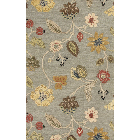 Jaipur Rugs RUG113451 Hand-Tufted Floral Pattern Wool/ Art Silk Blue/Red Area Rug ( 9x12 )