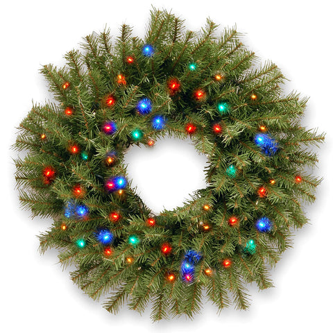 National Tree NF-309-24W-B 24 Inch Norwood Fir Wreath with 50 Battery Operated Concave Multicolor LED Lights