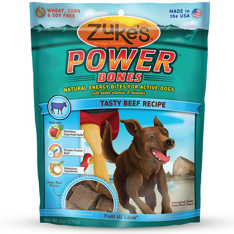 Zuke's Z-00050 Power Bones Natural Endurance Treats for Dogs Beef 6 oz.