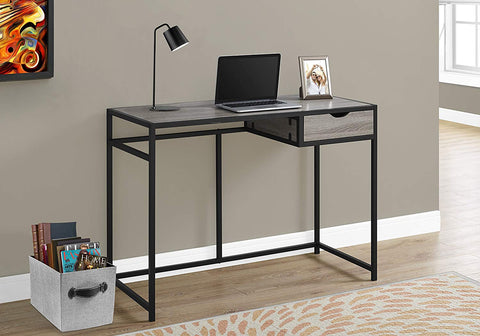 "Monarch 42"" L Black Metal Computer Desk, Dark Taupe"