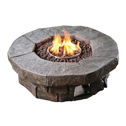 Teamson HF11802AA Peaktop - Outdoor Round Stone Look Propane Gas Fire Pit