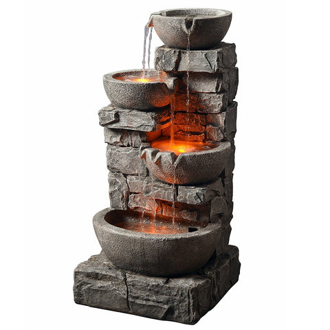 Teamson 201601PT Peaktop - Outdoor Stacked Stone Tiered Bowls Fountain w/ LED Light