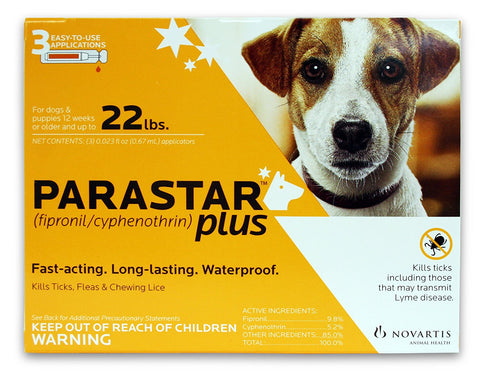 Parastar Plus For Dogs & Puppies Up To 22 lbs, 3 Applications - Peazz Pet