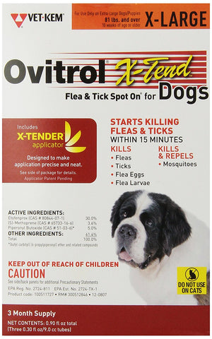 Ovitrol X-Tend Flea & Tick Spot On For Dogs - X-Large (81 lbs and over), 3 Month - Peazz Pet