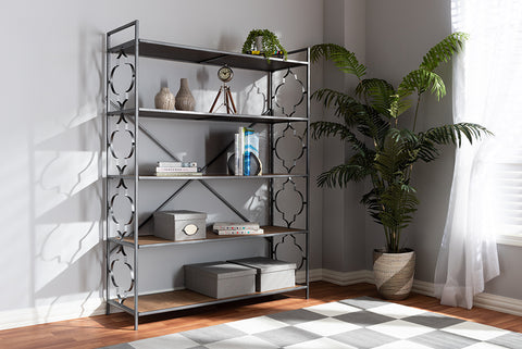 Baxton Studio FJ2A021-Black-Shelf Mirna Industrial Black Iron Metal and Natural Oak Wood 5-Shelf Quatrefoil Accent Bookcase