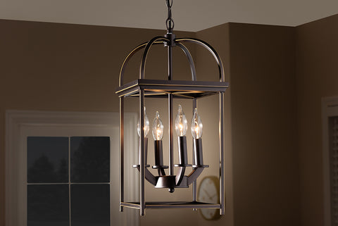 Baxton Studio EVEN3681 Linez Vintage Rustic Farmhouse Dark Bronze Metal 4-Light Lantern Pendant Light