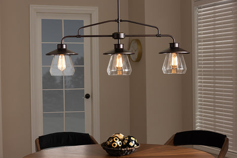 Baxton Studio EVEN3682 Raissa Vintage Industrial Dark Bronze Metal and Glass 3-Light Kitchen Island Pendant Light