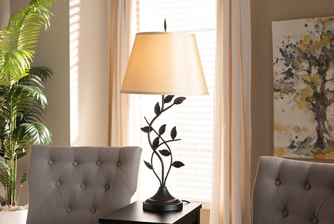 Baxton Studio EVEN3816 Cilla Transitional Black Metal Leaf Table Lamp