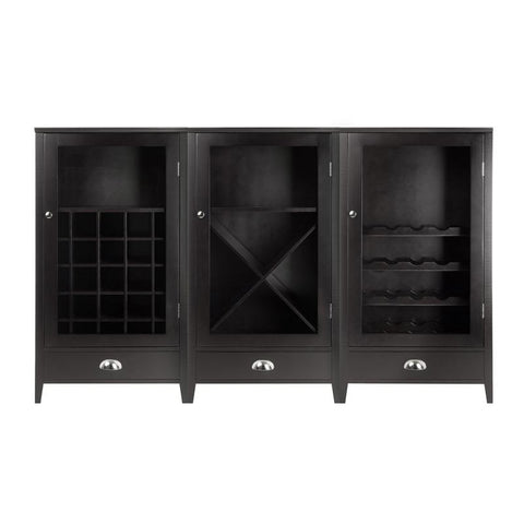 Winsome Wood 92359 Bordeaux 3-Pc Modular Wine Cabinet  Set with Tempered Glass Doors - Peazz.com