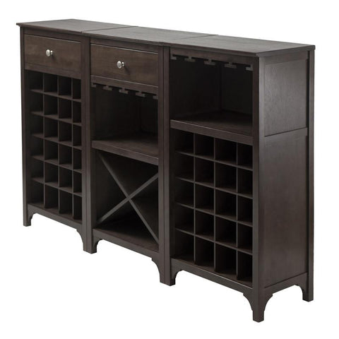 Winsome Wood 92367 Ancona 3-Pc Modular Wine Cabinet  Set - Peazz.com - 1
