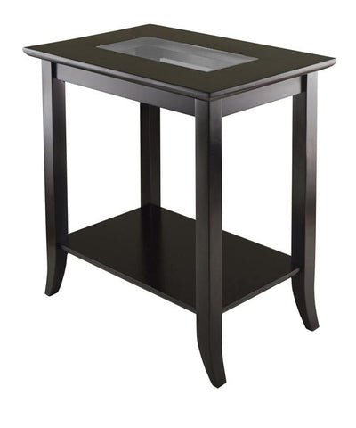 Winsome Wood 92419 Genoa Rectangular End Table with Glass Top and shelf - Peazz.com