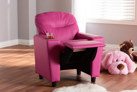 Baxton Studio LD2056-Pink-CC Evonka Modern and Contemporary Magenta Pink Faux Leather Kids Recliner Chair