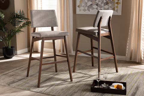 Baxton Studio Colton-Light Grey-BS Colton Mid-Century Modern Light Gray Fabric Upholstered and Walnut-Finished Wood Bar Stool Set of 2