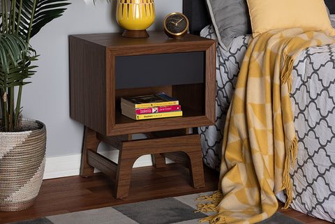 Baxton Studio WI1704-Walnut/Grey-NS Svante Mid-Century Modern Walnut Brown and Dark Gray Finished Wood 1-Drawer Nightstand