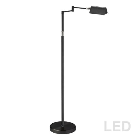 9W LED Swing Arm Floor, Black Finish