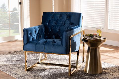 Baxton Studio TSF7719-Navy Blue/Gold-CC Milano Modern and Contemporary Navy Velvet Fabric Upholstered Gold Finished Lounge Chair