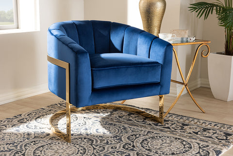 Baxton Studio TSF7707-Dark Royal Blue/Gold-CC Tomasso Glam Royal Blue Velvet Fabric Upholstered Gold-Finished Lounge Chair
