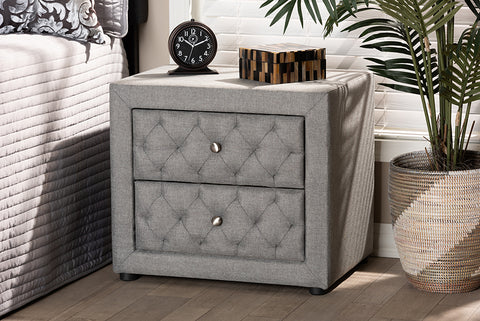 Baxton Studio BBT3164-Grey-NS Lepine Modern and Contemporary Gray Fabric Upholstered 2-Drawer Wood Nightstand