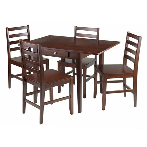 Winsome Wood 94561 Hamilton 5-Pc Drop Leaf Dining Table with 4 Ladder Back Chairs - Peazz.com
